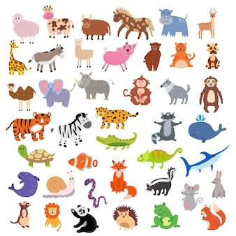 Schattige dieren collecties vector illustratie clipart