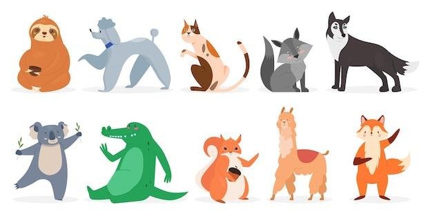 Schattige dieren dieren in het wild set wilde grappige dieren en huisdieren karakters collectie Premium Vector