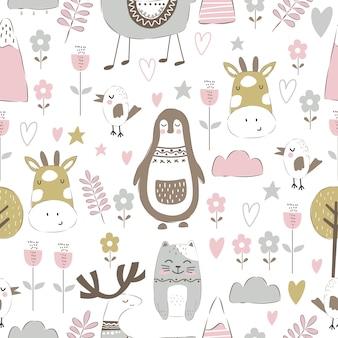 Schattige dieren doodle in naadloos patroon