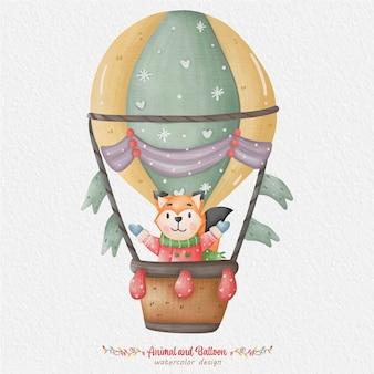 Schattige dieren en ballon aquarel illustratie, met de achtergrond van het papier. voor ontwerp, prints, stof of achtergrond