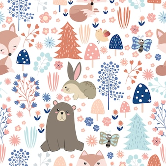 Schattige dieren en bos in naadloos patroon