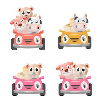 Schattige dieren en de auto design collectie