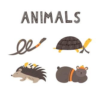 Schattige dieren en de inscriptie dieren in scandinavische stijl. hand tekenen vectorillustratie.