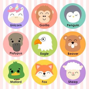 Schattige dieren gezichten cartoon afbeelding pictogram