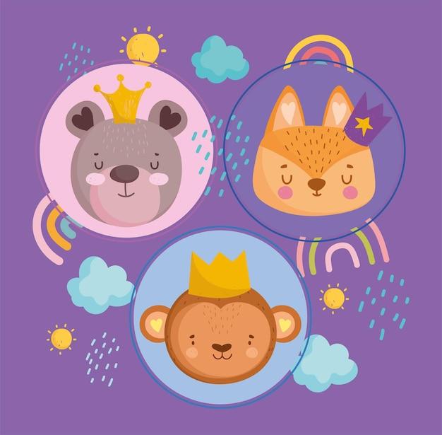 Schattige dieren gezichten met kronen regenbogen wolken en zon cartoon vectorillustratie