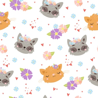 Schattige dieren gezichten patroon
