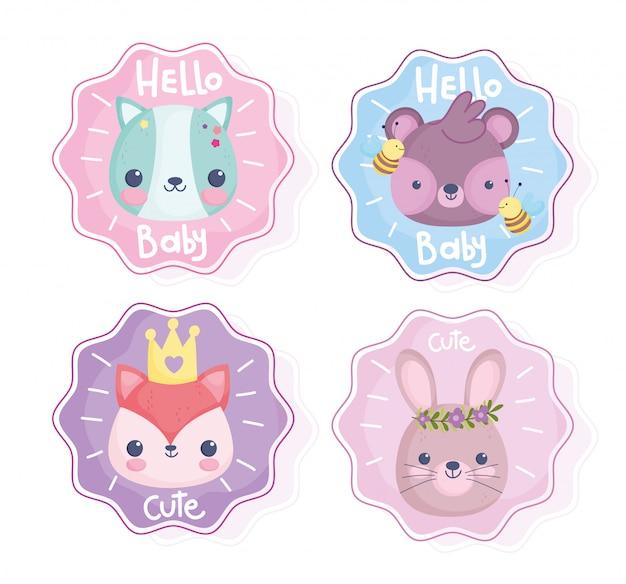 Schattige dieren, hallo baby kleine konijn beer vos kat bijen stickers