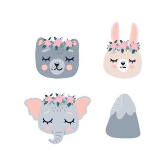 Schattige dieren hoofden gezicht pictogram met gesloten ogen in een krans. cartoon grappig karakter en berg.
