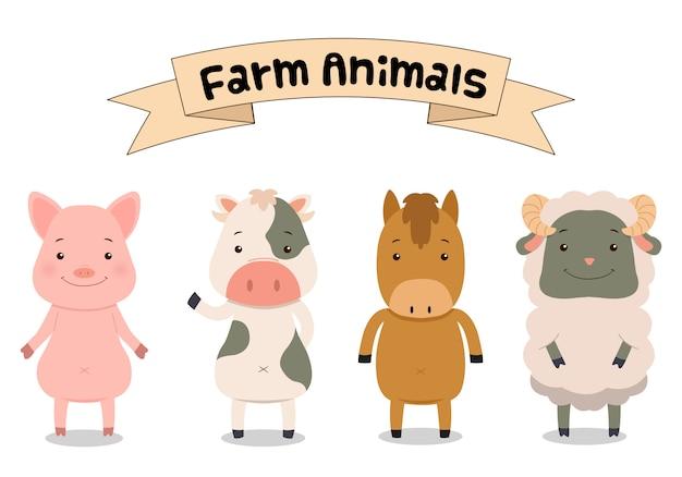 Schattige dieren illustraties geïsoleerd op een witte achtergrond. platte cartoon