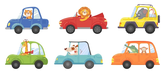 Schattige dieren in grappige auto's. dierlijke bestuurder, huisdierenvoertuig en gelukkige leeuw in autokind. transportdieren of leeuwen en hondenkarakters reizen in auto's. geïsoleerde vector cartoon illustratie iconen set