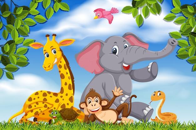 Schattige dieren in natuurscène