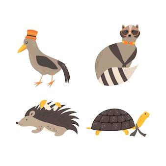 Schattige dieren in scandinavische stijl. hand tekenen vectorillustratie.