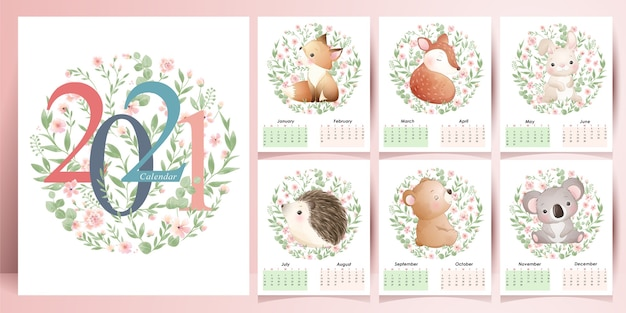 Schattige dieren kalender voor jaarcollectie