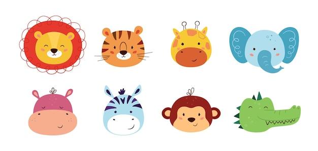 Schattige dieren kawaii karakters. grappige leeuw, tijger, giraf, olifant, aap, nijlpaard, zebra, krokodil