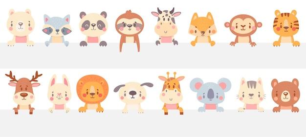 Schattige dieren kijken uit. grappige dieren gluren uit, met de hand getekend huisdier, schattige kat en hond.