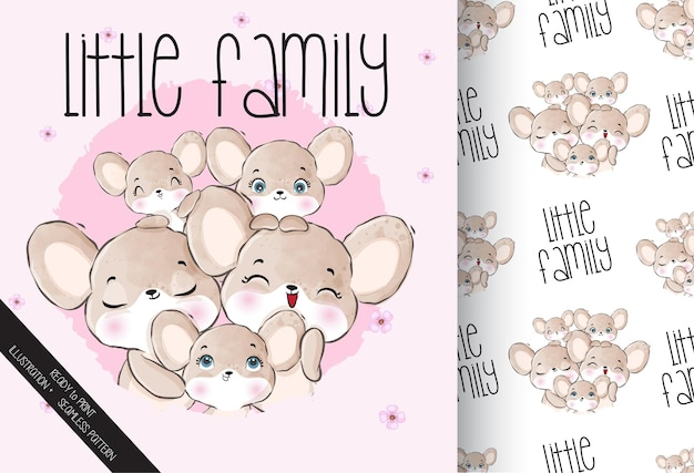 Schattige dieren kleine familiemuis met naadloos patroon