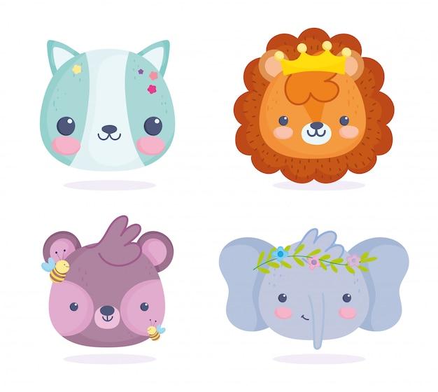 Schattige dieren, kleine kat leeuw olifant en beer met bijen cartoon