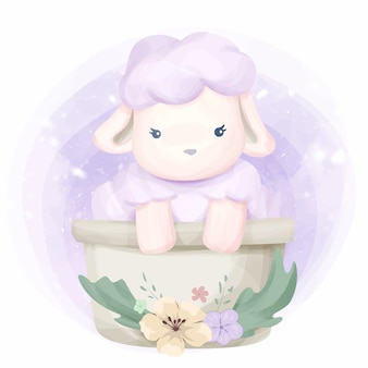 Schattige dieren kleine schapen illustratie