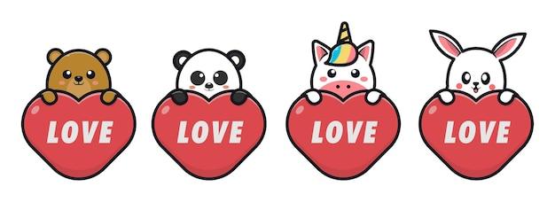 Schattige dieren knuffelen rode harten voor valentijnsdag