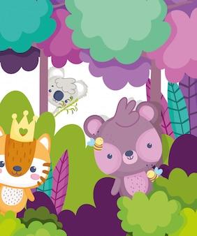 Schattige dieren koala tijger bos bladeren gebladerte cartoon