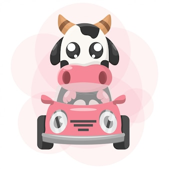 Schattige dieren koe met auto mascotte cartoon