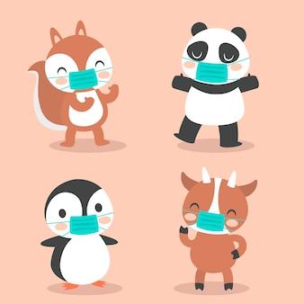 Schattige dieren met gezichtsmaskers