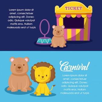 Schattige dieren met verkoop ticket circus