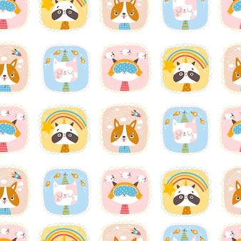 Schattige dieren naadloze patroon portretten van een kat wasbeer hond en vos