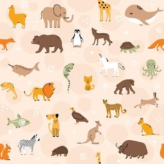 Schattige dieren naadloze patroon