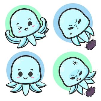 Schattige dieren octopus emoticons illustratie set