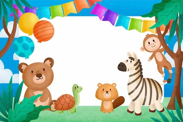 Schattige dieren op verjaardagsfeestje