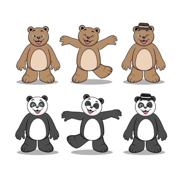 Schattige dieren panda beer stripfiguur