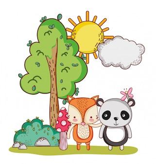 Schattige dieren, panda en vos vlinder boom bush zon cartoon