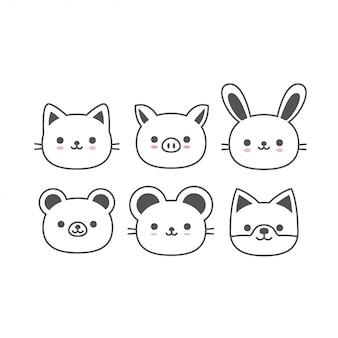Schattige dieren pictogram vector collectie