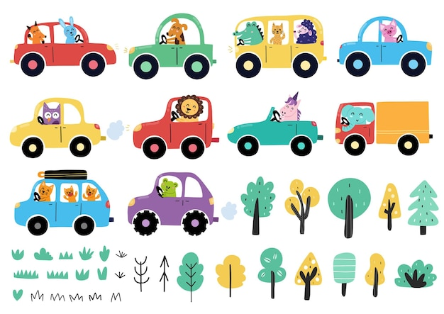 Schattige dieren rijden auto's collectie transportset met grappige stripfiguren