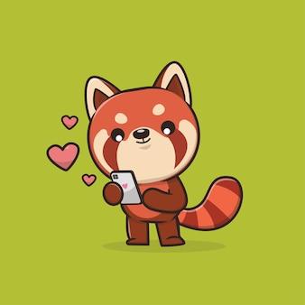 Schattige dieren rode panda illustratie