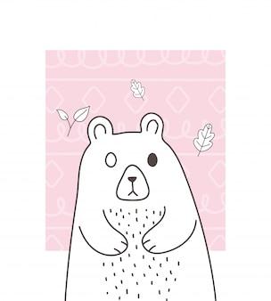 Schattige dieren schets cartoon schattige beer verlaat gebladerte