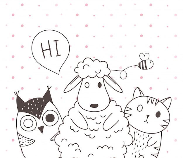 Schattige dieren schetsen cartoon schattige schapen kat en uil Premium Vector