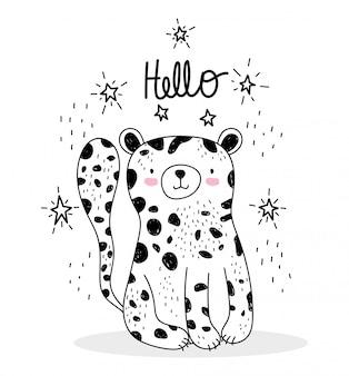 Schattige dieren schetsen dieren in het wild cartoon schattige luipaard hallo belettering