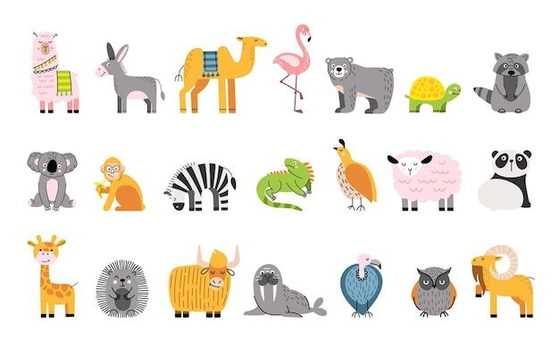Schattige dieren set met wasbeer, beer, kwartel, schaap, gier en flamingo.