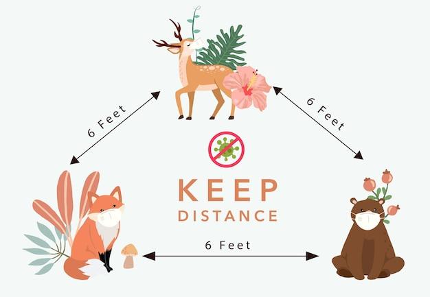 Schattige dieren sociale afstand met herten, vos, beer dragen een masker
