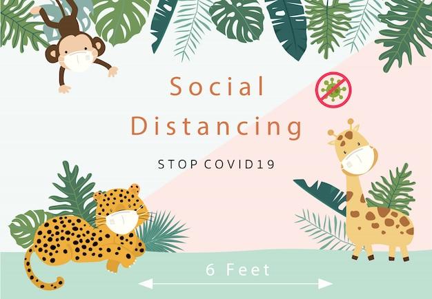 Schattige dieren sociale ditancing-collectie met luipaard, giraf, aap draagt masker. vectorillustratie voor het voorkomen van de verspreiding van bacteriën, coronvirussen