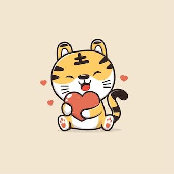 Schattige dieren tijger illustratie
