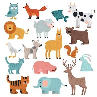 Schattige dieren. tijger, uil en beer, olifant en leeuw, lama en hert, haas en hond, wilde eekhoorn en boerderij tekenfilm dieren vector set
