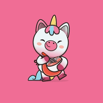 Schattige dieren unicorn cartoon afbeelding