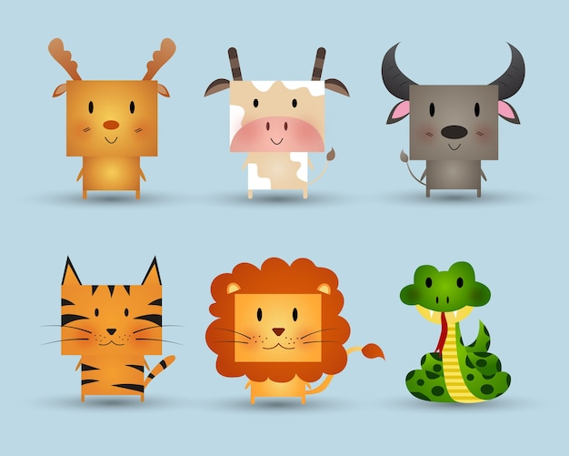 Schattige dieren vector illustratie.