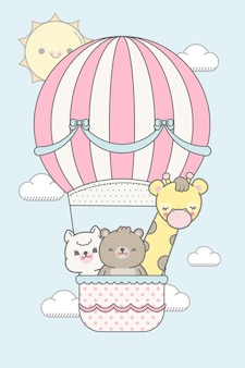 Schattige dieren vliegen met ballon