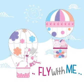 Schattige dieren vliegen op hete luchtballon