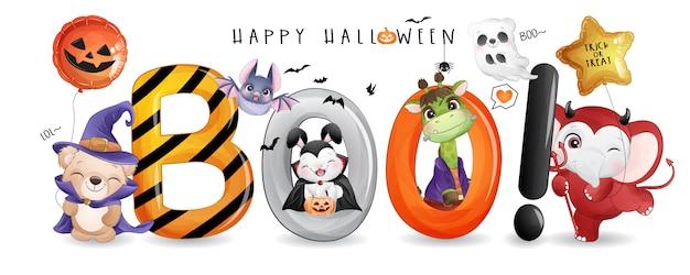 Schattige dieren voor halloween dag met aquarel illustratie
