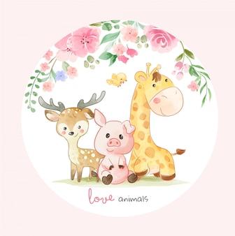 Schattige dieren vrienden en kleurrijke bloemen illustratie in cirlce vorm